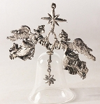 1988 Holiday Heirloom - 2nd L.E.  Silver Angels Above Glass Bell, Holiday Heirloom #2