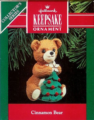 1990 Porcelain Bear - 8th & Final Cinnamon Bear with Christmas Tree