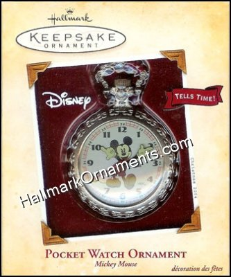 2004 Pocket Watch Ornament, Mickey Mouse, Disney