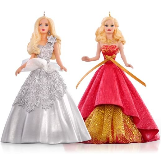 2015 2013 and 2014 Celebration Barbie Ornament Set