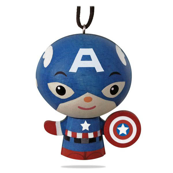 2018 Captain America Ornament, Wood
