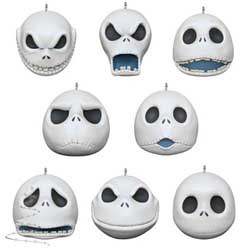 2020 The Many Faces of Jack Skellington, Miniature Ornament Set, Nightmare Before Christmas