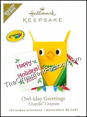 2010 Owl-iday Greetings, Crayola, RARE
