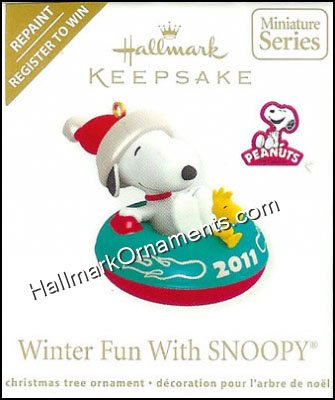 2011 Winter Fun With Snoopy, Register to Win Colorway, Miniature Hallmark Keepsake Ornament