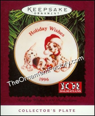 1996 Holiday Wishes 101 Dalmatians Plate, Disney DB