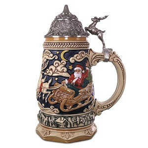 2018 Santa Takes Flight Beer Stein, Table Top , LIMITED EDITION