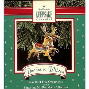1992 santa his reindeer donner blitzen