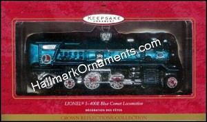 2001 Lionel I-400E Blue Comet Locomotive, Lionel Blown Glass