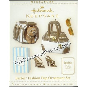 2006 Barbie Fashion Pup  Ornament Set, Miniature