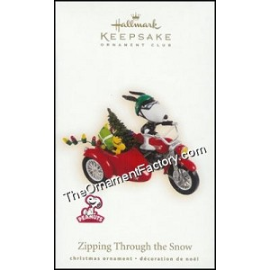 2009 Zipping Through the Snow, Peanuts Club Ornament